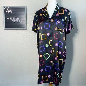 Vintage 90's Silk Short Sleeve Night Shirt Dress